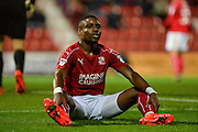 Swindon Town Forward, Jonathan Obika (9) sees a chance missed during the EFL Sky Bet League 1 match between Swindon Town and Northampton Town at the County Ground, Swindon, England on 27 September 2016. Photo by Adam Rivers.