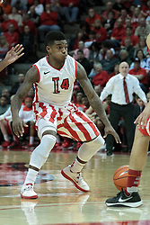 15 February 2014:  Bobby Hunter during an NCAA Missouri Valley Conference (MVC) mens basketball game between the Bradley Braves and the Illinois State Redbirds  in Redbird Arena, Normal IL.