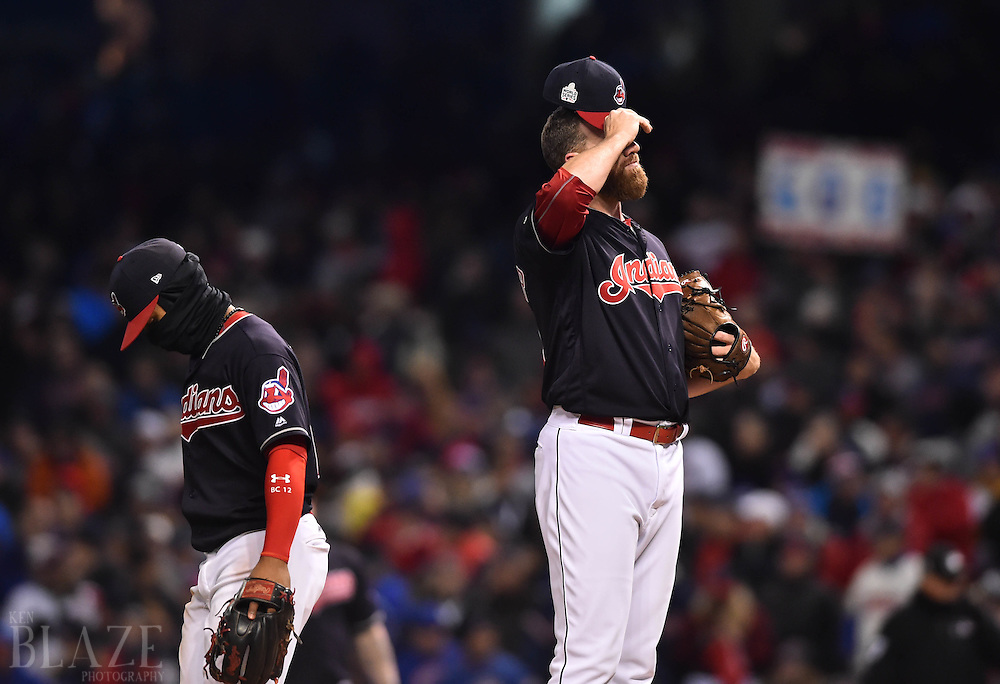 Oct 26, 2016; Cleveland, OH, USA; Cleveland Indians relief pitcher Zach McAllister (34) and shortstop Francisco Lindor (12) react against the Chicago Cubs in the 5th inning in game two of the 2016 World Series at Progressive Field. Mandatory Credit: Ken Blaze-USA TODAY Sports