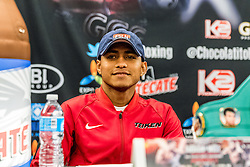 LOS ANGELES, CA - APRIL 21 Roman Gonzalez (44-0, 38 KOs) and McWilliams Arroyo (18-0, 12 KOs) attend their final press conference for their fight Saturday Night at The Forum in Inglewood in Los Angeles. 2016 April 21.  Byline, credit, TV usage, web usage or link back must read SILVEXPHOTO.COM. Failure to byline correctly will incur double the agreed fee. Tel: +1 714 504 6870.