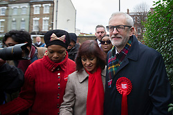 © Licensed to London News Pictures. 12/12/2019. London, UK. Labour Party Leader Jeremy Corbyn and his wife Laura Alvarez depart Pakemen School after casting their votes . Photo credit: George Cracknell Wright/LNP