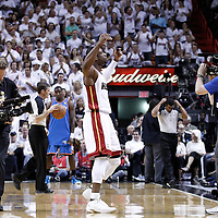 19 June 2012: Miami Heat shooting guard Dwyane Wade (3) pumps up fans during the Miami Heat 104-98 victory over the Oklahoma City Thunder, in Game 4 of the 2012 NBA Finals, at the AmericanAirlinesArena, Miami, Florida, USA.