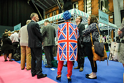(c) Licensed to London News Pictures. <br /> 04/10/2017<br /> Manchester, UK<br /> <br /> Hundreds of delegates and party members queue to enter the main hall ahead of the Prime Minister, Theresa May's speech on the final day of the Conservative Party Conference held at the Manchester Central Convention Complex.<br /> <br /> Photo Credit: Ian Forsyth/LNP