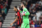 David De Gea (1) of Manchester United gives Callum Wilson (13) of AFC Bournemouth a pat on the back of the head during the Premier League match between Bournemouth and Manchester United at the Vitality Stadium, Bournemouth, England on 18 April 2018. Picture by Graham Hunt.