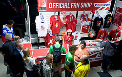 Fans buying official souvenirs  before the EuroBasket 2009 Semi-final match between Slovenia and Serbia, on September 19, 2009, in Arena Spodek, Katowice, Poland.  (Photo by Vid Ponikvar / Sportida)