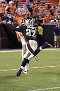 Cleveland Browns wide receiver Jordan Payton (84) catches a 45 yard touchdown pass good for a late fourth quarter score that proves to be the game winner while being chased by New Orleans Saints cornerback Damian Swann (27) during the 2017 NFL preseason football game against the New Orleans Saints, Thursday, Aug. 10, 2017 in Cleveland. The Browns won the game 20-14. (©Paul Anthony Spinelli)
