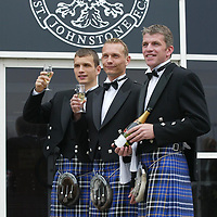 Preparations for the innaugural St Johnstone FC Ladies evening, where players will serve the ladies champagne as they arrive, pictured from left, Kevin Cuthbert, Tommy Lovenkrands and Jim Weir...<br />