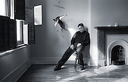 PICTURE BY HOWARD BARLOW..ARTIST - BERNARD SUMNER - NEW ORDER.VENUE   - HOME in MANCHESTER.DATE    - 25 APRIL 1995