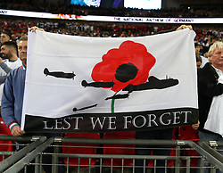 10 November 2017 Wembley: Friendly International Football Match - England v Germany: fans at Wembley unfurl a banner with poppies and Lancaster bombers on.<br /> Photo: Mark Leech