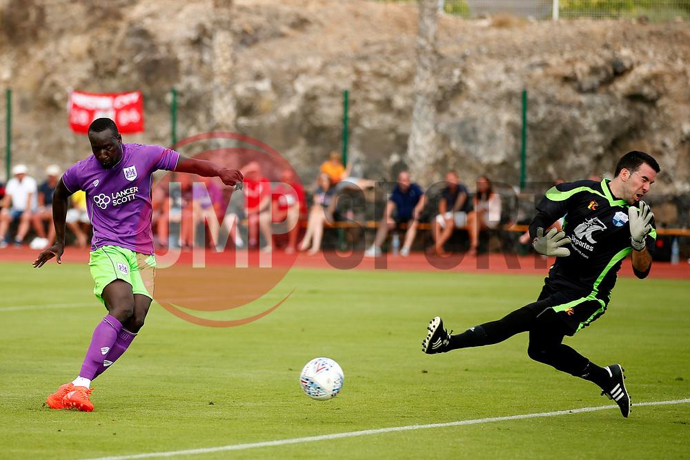 Famara Diedhiou of Bristol City scores his sides second goal  - Mandatory by-line: Matt McNulty/JMP - 22/07/2017 - FOOTBALL - Tenerife Top Training - Costa Adeje, Tenerife - Bristol City v Atletico Union Guimar  - Pre-Season Friendly