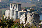 LES ANDELEYS, FRANCE - OCTOBER 10: Aerial view of embossed ramparts with the keep of the Chateau Gaillard, Seine in the background, on October 10, 2008 in Les Andelys, Normandy, France. The chateau was built by Richard the Lionheart in 1196, came under French control in 1204 following a siege in 1203. It was later destroyed by Henry IV in 1603 and classified as Monuments Historiques in 1852. (Photo by Manuel Cohen)