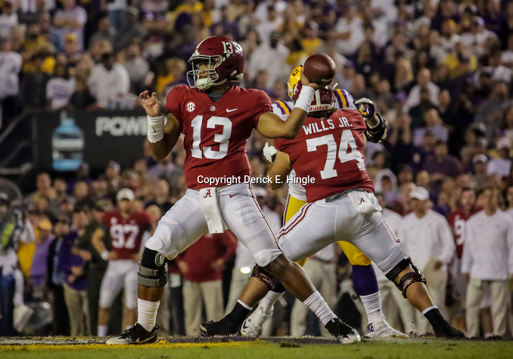 Nov 3, 2018; Baton Rouge, LA, USA; Alabama Crimson Tide quarterback Tua Tagovailoa (13) throws against the LSU Tigers during the first quarter at Tiger Stadium. Mandatory Credit: Derick E. Hingle-USA TODAY Sports