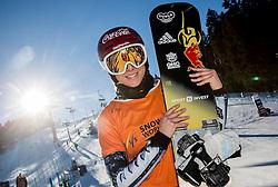 28.01.2017, Course Jasa, Rogla, SLO, FIS Weltcup Snowboard, Rogla, Parallel Riesenslalom, Damen, Siegerehrung, im Bild Winner Ester Ledecka (CZE) celebrates at trophy ceremony // after women's Parallel Giant Slalom of the Rogla FIS Snowboard World Cup at the Course Jasa in Rogla, Slovenia on 2017/01/28. EXPA Pictures © 2017, PhotoCredit: EXPA/ Sportida<br /> <br /> *****ATTENTION - OUT of SLO, FRA*****