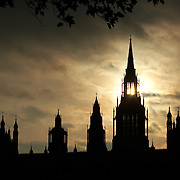 Houses of Parliament, The Palace of Westminster, The City of Westminster, London, England, UK at sunset<br />