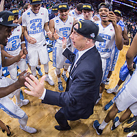 27 MAR 2016: Head coach Roy Williams of the University of North Carolina celebrates after a game against Notre Dame University during the 2016 NCAA Men's Basketball Tournament held at the Wells Fargo Center in Philadelphia, PA.  Ben Solomon/NCAA Photos