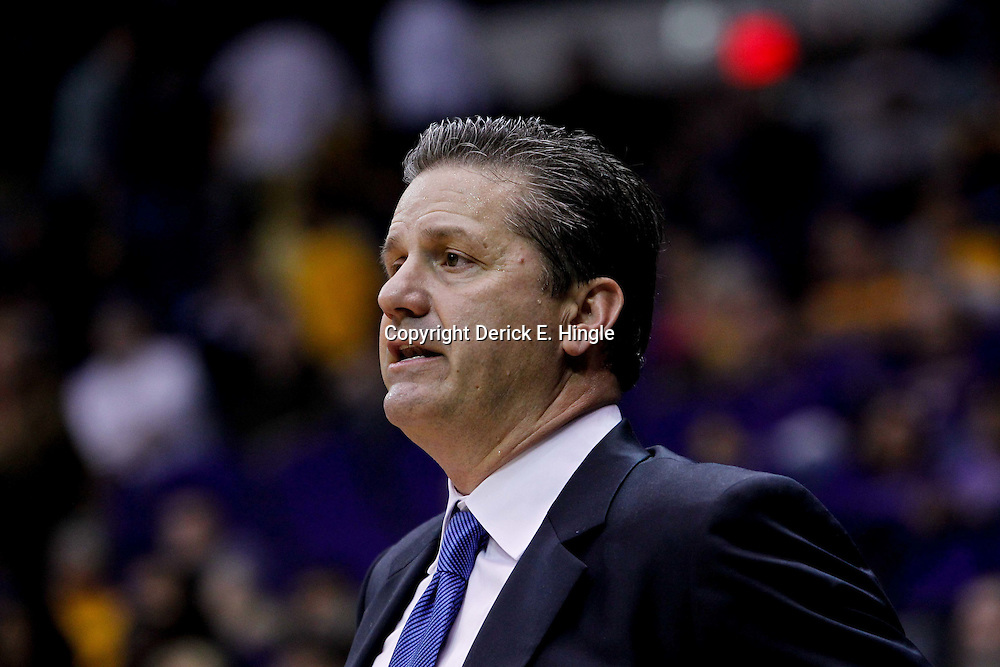 January 28, 2012; Baton Rouge, LA; Kentucky Wildcats head coach John Calipari against the LSU Tigers during a game at the Pete Maravich Assembly Center. Kentucky defeated LSU 74-50.  Mandatory Credit: Derick E. Hingle-US PRESSWIRE