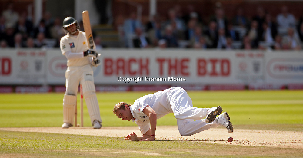 Bowler Stuart Broad fields an Azhar Ali shot during his century in the final npower Test Match between England and Pakistan at Lord's.  Photo: Graham Morris (Tel: +44(0)20 8969 4192 Email: sales@cricketpix.com) 28/08/10