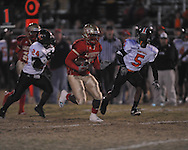 Lafayette High's Demarkous Dennis (5) runs 48 yards for a first quarter touchdown vs. Leake Central in playoff high school football action in Oxford, Miss. on Friday, November 4, 2011. Lafayette won 46-7.