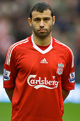 LIVERPOOL, ENGLAND - Saturday, November 22, 2008: Liverpool's Javier Mascherano before the Premiership match against Fulham at Anfield. (Photo by David Rawcliffe/Propaganda)
