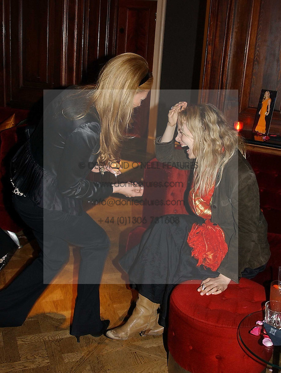 Left to right, CAT DEELEY and BAY GARNETT at a party hosted by jewellers Adler to celebrate 20 years in London held at 5 Cavendish Square, London on 4th May 2005.<br /><br />NON EXCLUSIVE - WORLD RIGHTS