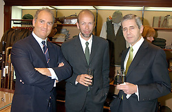 Left to right, CHARLES FINCH, ERIC FELLNER and STUART ROSE at a party hosted by the Gussalli Beretta family to celebrate the opening of the new Beretta store, 36 St.James's Street, London SW1 on 10th January 2006.<br />