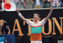 MELBOURNE, Jan. 17, 2019  Kei Nishikori of Japan celebtates during the men's second round match between Kei Nishikori of Japan and Ivo Karlovic of Croatia at the 2019 Australian Open in Melbourne, Australia, Jan. 17, 2019. (Credit Image: © Bai Xuefei/Xinhua via ZUMA Wire)