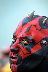 08 Feb 2015. New Orleans, Louisiana.<br /> Mardi Gras. Darth Maul. The Mystic Krewe of Barkus takes to the streets of the French Quarter with the theme 'Bark Wars: Return of the K-9.' Barkus is the only officially licensed Mardi Gras krewe by and for canines. <br /> Photo; Charlie Varley/varleypix.com
