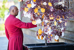 © Licensed to London News Pictures . 22/05/2018 . Manchester , UK . Dean ROGERS GOVENDER looks at messages tied to a remembrance tree outside Manchester Cathedral ahead of a Service of Remembrance on the first anniversary of the Manchester Arena bombing . On the evening of 22nd May 2017 , Salman Abedi murdered 22 people and seriously injured dozens more , when he exploded a bomb in the  foyer of the Manchester Arena as concert-goers were leaving an Ariana Grande gig . Photo credit : Joel Goodman/LNP