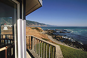 Northern California Coast: Shelter Cove (Lost Coast) in Humboldt County. View from the Lighthouse Inn with the Pacific Ocean rocky beach.