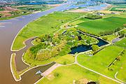 Nederland, Utrecht, Houten, 27-05-2013; Stelling van Honswijk, Lek-acces, onderdeel van de Hollandse waterlinie. Bestaande onder andere Lunet aan De Snel (buiten beeld), Inundatiekanaal en het torenfort Fort Honswijk aan de oevers van rivier de Lek.<br /> Fort Honswijk, strategically located at river Lek (near Utrecht), part of the New Dutch Waterline.<br /> luchtfoto (toeslag op standard tarieven)<br /> aerial photo (additional fee required)