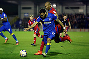 AFC Wimbledon striker Andy Barcham (17) dribbling down the line during the EFL Sky Bet League 1 match between AFC Wimbledon and Rochdale at the Cherry Red Records Stadium, Kingston, England on 28 March 2017. Photo by Matthew Redman.