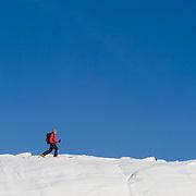 Arnar Felix Einarsson ski touring in Tindfjöll mountain range, Iceland.