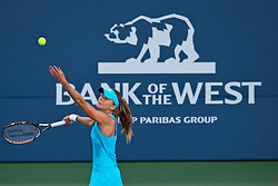July 27, 2011; Stanford, CA, USA;  Daniela Hantuchova (SVK) serves the ball against Maria Sharapova (RUS), not pictured, during the second round of the Bank of the West Classic women's tennis tournament at the Taube Family Tennis Stadium.