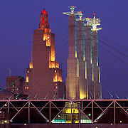 Missouri, Kansas City; Bartles Convention Center Sculpture And Kansas City Power & Light Building At Dusk
