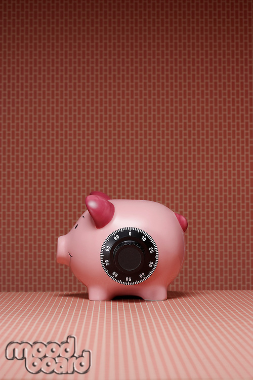 Piggy bank with combination lock side view