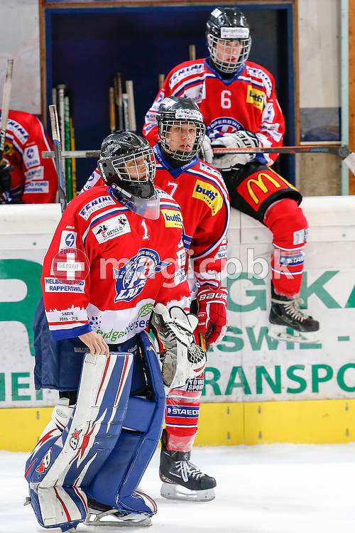 Rapperswil-Jona Lakers goaltender Christoph VON BURG (front to back), Roman MATHIS and Micha JUD are pictured during a Novizen Elite ice hockey game between Rapperswil-Jona Lakers and SC Bern Future held at the Diners Club Arena in Rapperswil, Switzerland, Saturday, Feb. 6, 2016. (Photo by Patrick B. Kraemer / MAGICPBK)