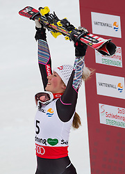 16.02.2013, Planai, Schladming, AUT, FIS Weltmeisterschaften Ski Alpin, Slalom, Damen, 2. Durchgang, im Bild Mikaela Shiffrin (USA, 1. Platz) // 1st place Mikaela Shiffrin of United States reacts after 2nd run of the ladies Slalom at the FIS Ski World Championships 2013 at the Planai Course, Schladming, Austria on 2013/02/16. EXPA Pictures © 2013, PhotoCredit: EXPA/ Johann Groder