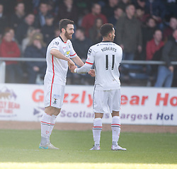 Inverness Caledonian Thistle's Ross Draper cele scoring their goal.<br /> Half time : Dundee 0 v 1 Inverness Caledonian Thistle, SPFL Ladbrokes Premiership game played at Dens Park, 27/2/2016.