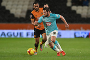 Derby County's Jacob Butterfield  during the Sky Bet Championship match between Hull City and Derby County at the KC Stadium, Kingston upon Hull, England on 27 November 2015. Photo by Ian Lyall.