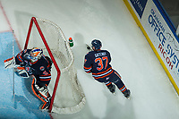 KELOWNA, CANADA - FEBRUARY 24:  Joe Gatenby #37 skates with the puck behind the net of Dylan Ferguson #31 of the Kamloops Blazers as he defends the net against the Kelowna Rockets on February 24, 2018 at Prospera Place in Kelowna, British Columbia, Canada.  (Photo by Marissa Baecker/Shoot the Breeze)  *** Local Caption ***