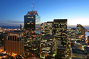 Downtown Honolulu at twilight, Oahu, Hawaii