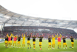 20.10.2018, Fussball, 1. Bundesliga, VfB Stuttgart - Boussia Dortmund, v.l. Borussia Dortmund Spieler jubeln nach dem Spiel mit den Fans..(DFL/DFB REGULATIONS PROHIBIT ANY USE OF PHOTOGRAPHS as IMAGE SEQUENCES and/or QUASI-VIDEO) (Credit Image: © Kevin Voigt/Xinhua via ZUMA Wire)