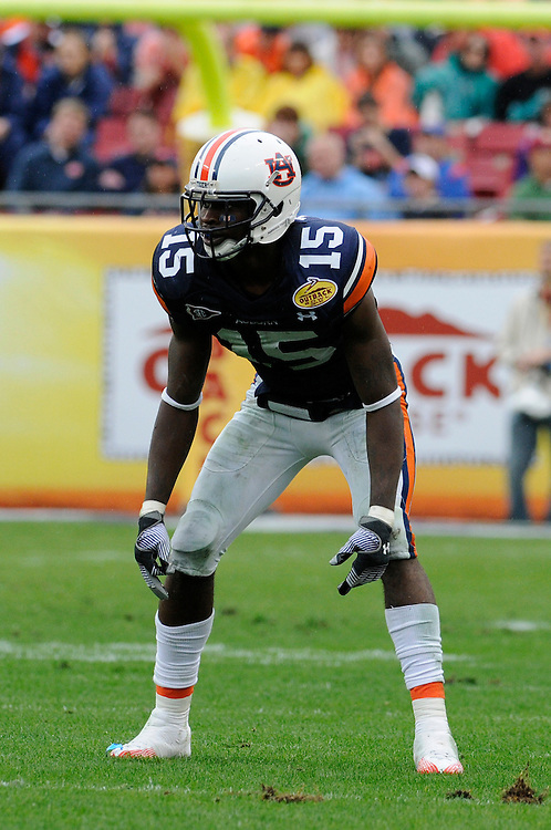 January 1, 2010: Neiko Thorpe of the Auburn Tigers in action during the NCAA football game between the Northwestern Wildcats and the Auburn Tigers in the Outback Bowl. The Tigers defeated the Wildcats 38-35 in overtime.