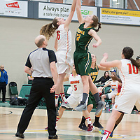 3rd year forward Christina McCusker (12) of the Regina Cougars in action during the home game on January  28 at Centre for Kinesiology, Health and Sport. Credit: Arthur Ward/Arthur Images