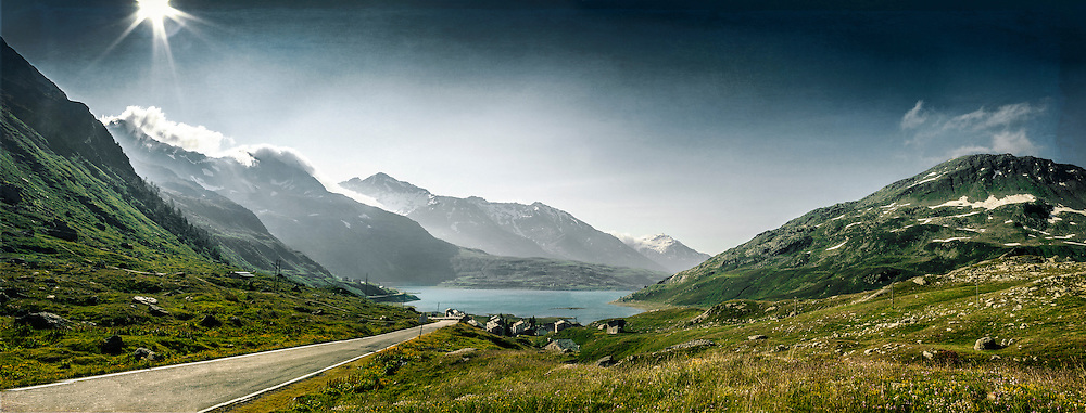 View of Lago di Montespluga coming from Splugenpass.<br />