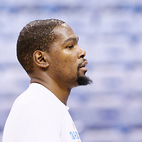 08 May 2016:  Oklahoma City Thunder forward Kevin Durant (35) warms up prior to the Oklahoma City Thunder 111-97 victory over the San Antonio Spurs, during Game Four of the Western Conference Semifinals of the NBA Playoffs at the Chesapeake Energy Arena, Oklahoma City, Oklahoma, USA.