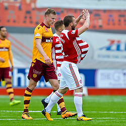 Ioannis Skondras celebrates after scoring in the match between Hamilton Accies v Motherwell, Ladbrokes Premiership, The Super Seal Stadium, Saturday 14 October 2017  (c) Angie Isac | SportPix.org.uk