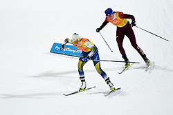 PYEONGCHANG, Feb. 17, 2018  Ebba Andersson of Sweden (L) and Olympic athlete from Russia Anastasia Sedova compete during ladies 4x5km relay of cross-country skiing at the 2018 PyeongChang Winter Olympic Games at Alpensia Cross-Country Centre, PyeongChang, South Korea, Feb. 17, 2018. Team Sweden claimed the second place in a time of 51:26.3 while Olympic athletes from Russia claimed the third in a time of 52:07.6. (Credit Image: © Ju Huanzong/Xinhua via ZUMA Wire)