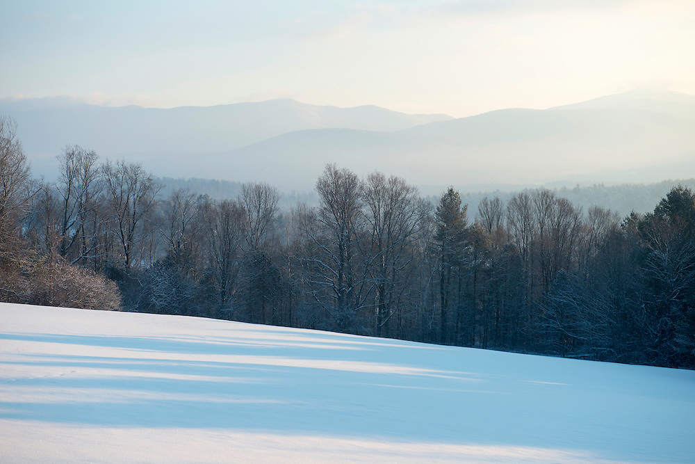 Winter morning looking east towards Brandon Gap and the Green Mountains, Brandon, Vermont.