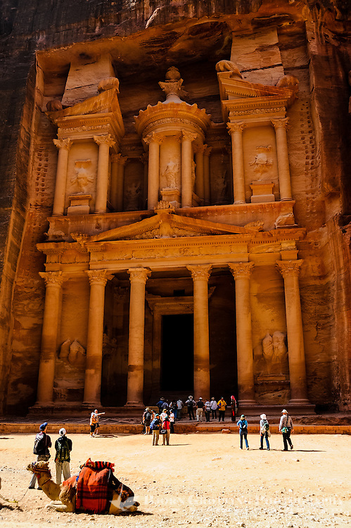 Petra is Jordan's most visited tourist attraction. Al Khazneh, The Treasury, is the most famous building. Dromedary transport.